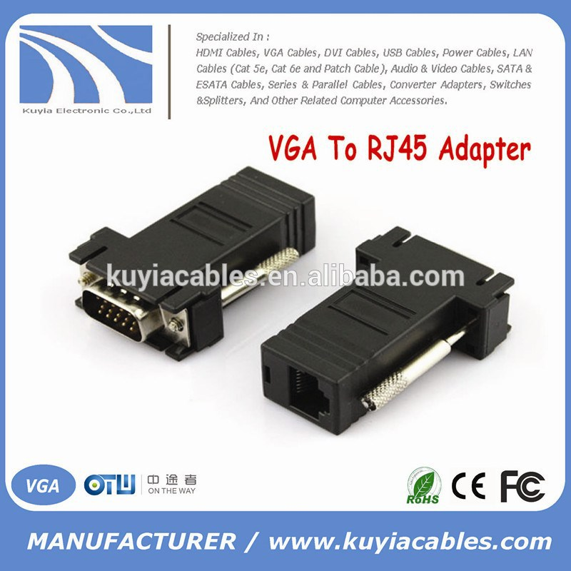 high speed VGA Extender Adapter to CAT5/CAT6/RJ45 Cable Extender Connector