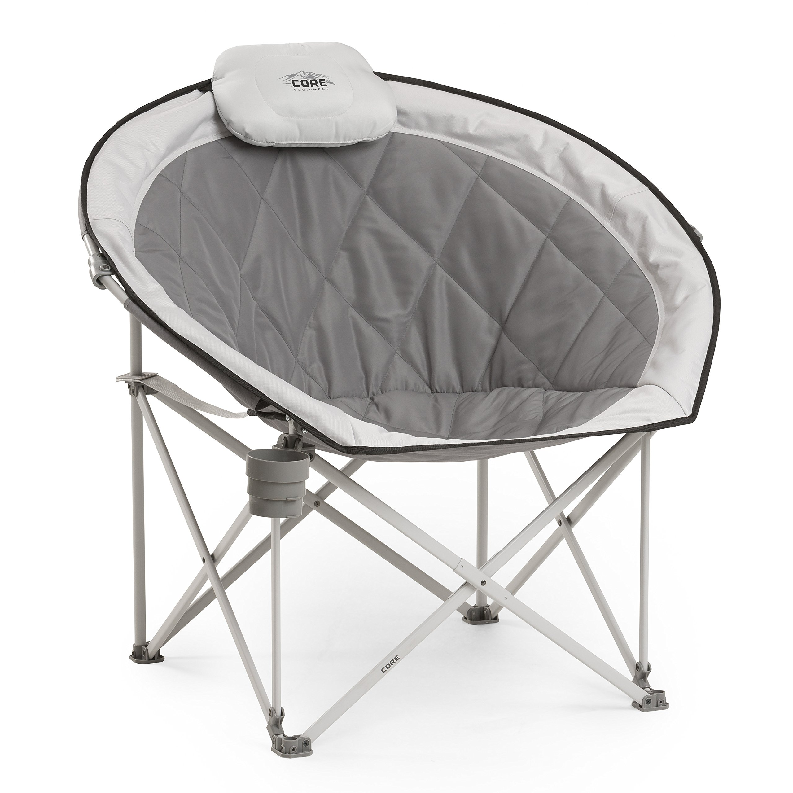 Bon Core Equipment Folding Oversized Padded Moon Round Saucer Chair With Carry  Bag, Gray