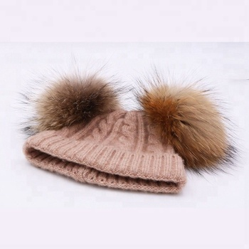 Cute comfortable fur double pom pom beanie for kids