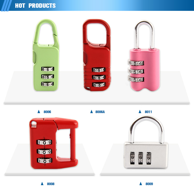Travel accessories 3 digit colorful logo combination password luggage code lock suitcase lock for travel