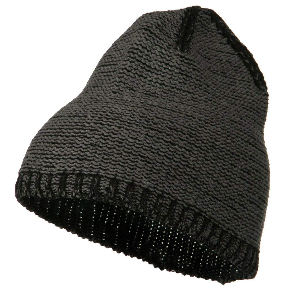 Get Quotations · Two Tone Cotton Blend Beanie - Charcoal Black 53f1f83bb73e