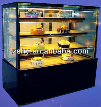 CE Straight Glass Refrigerated Cake Display Showcase