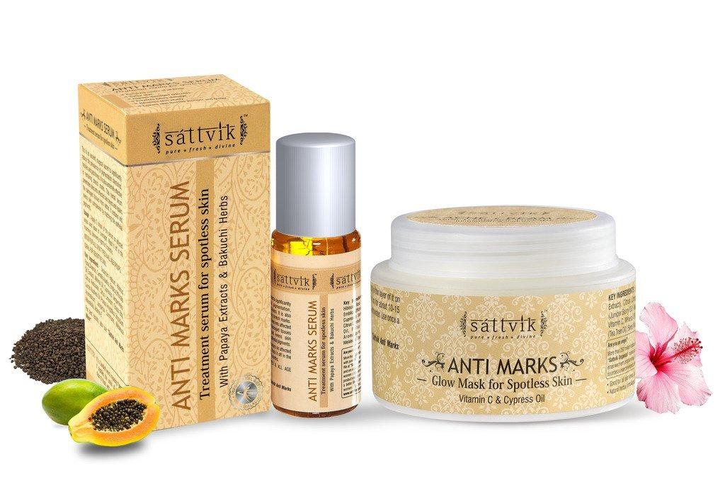 Sattvik Organics Spotless Skin Kit : With Anti Marks Serum (1.7 fl oz) & Anti Marks Mask (1.4 oz) • Effective for Stubborn Scars & Marks • Evens Skin Tone • Leaves Skin Smoother & Spotless