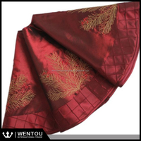 wholesale Deluxe Embroidered Pine Branches Cherry with Pintuck Border Extra Large Christmas Tree Skirt