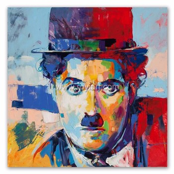 Modern pop canvas art famous people Chaplin portrait oil painting