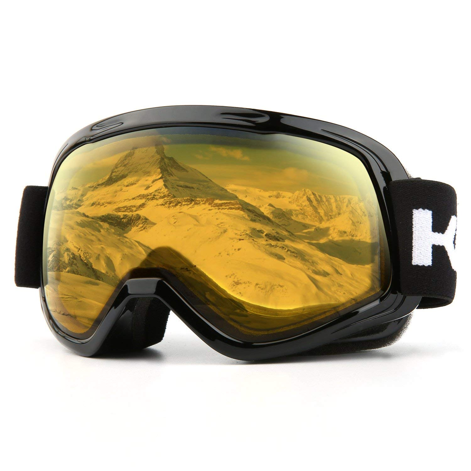 Ski Goggles, Snow Goggles Snowboarding Over Glasses Goggles for Men, Women, Youth or Kids - UV400 Protection and Anti-Fog - Double Grey Spherical Lens for Skating Skiing