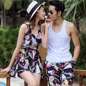 2018 sexy lady's swimwear nylon 4 way stretch men boardshorts couple beachwear