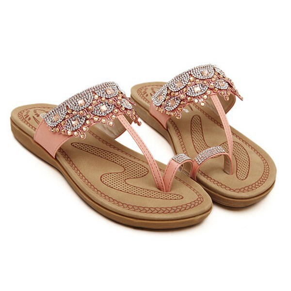 d48ec8554771 Get Quotations · Bohemian Summer Women Sandals With Beautiful Rhinestone  Sweet Flip Flops Pinch Shoes Thong Flats Bohemian Summer
