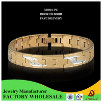 18k Gold Plated Shiny Copper Custom Jewelry Factory Hand Chain Bracelet for Men