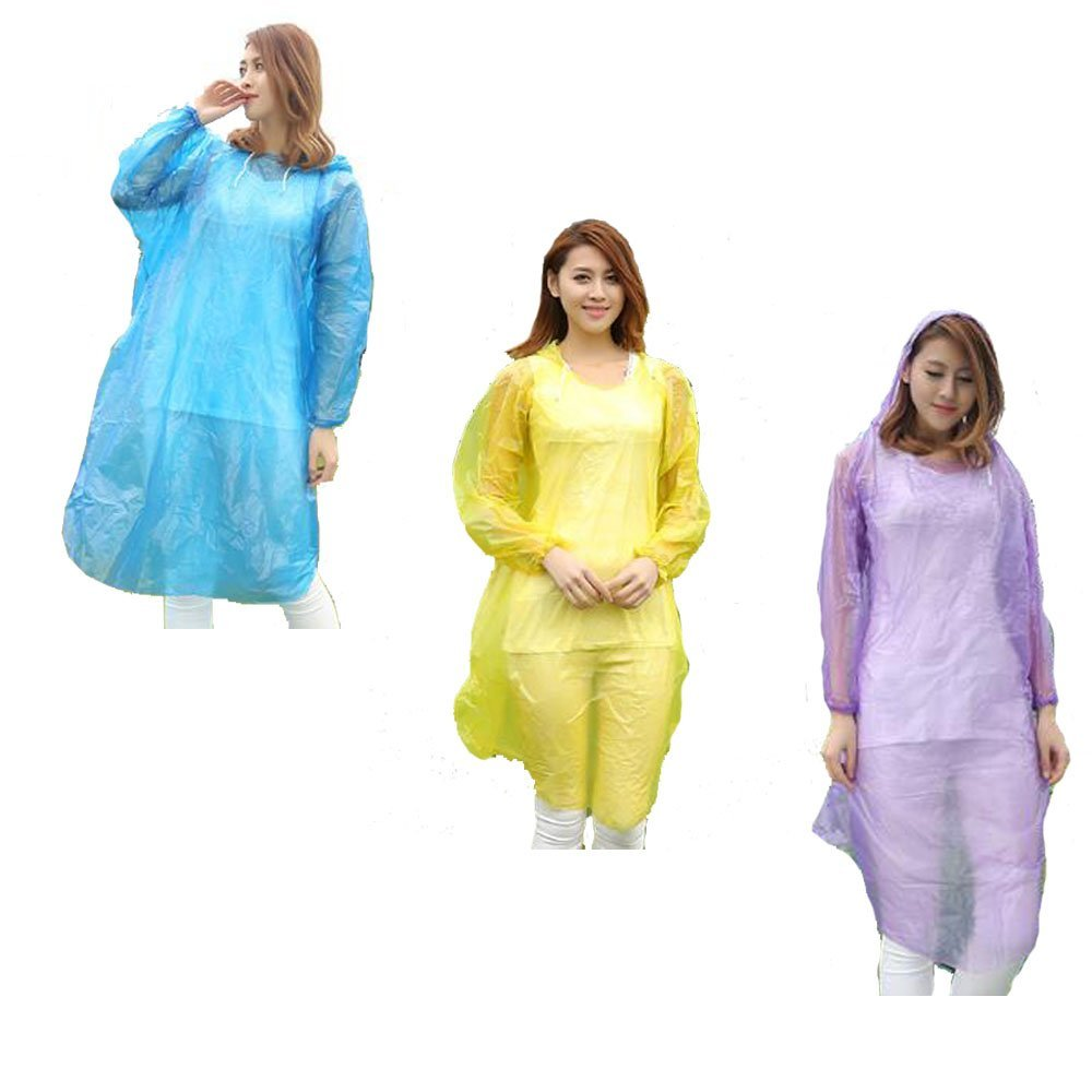 Anpatio 6pcs Emergency Rain Poncho Waterproof Lightweight Portable Disposable Raincoat with Drawstring Hood for Adult Men Women Travel Hiking Outdoors Sports