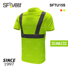 t shirt fiber seamless go dry performance tee for men's t-shirt no side seam dry fit high visibility reflective safety shirt