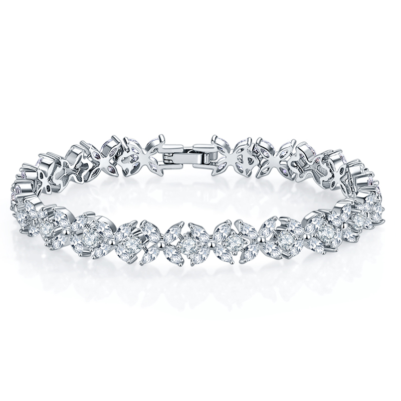 Fashion Jewelry White Gold Chain Flower Shape <strong>CZ</strong> Cubic Zirconia Diamond Adjustable <strong>Tennis</strong> <strong>Bracelets</strong> For Women