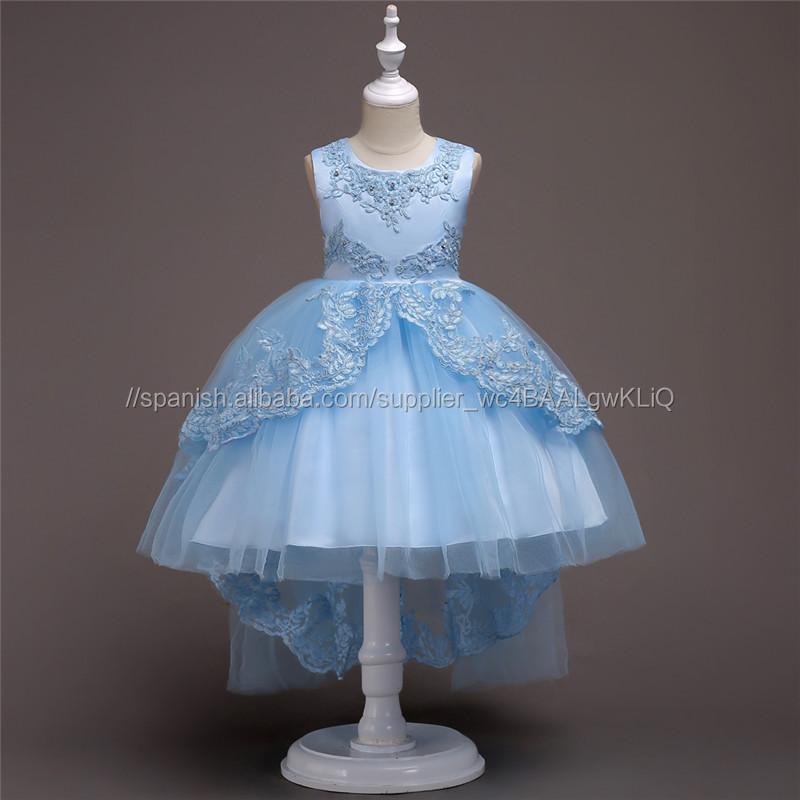 2ed0d4ed6 Vestido de niña de flores de color azul para 8 años princesa vestido de  fiesta de