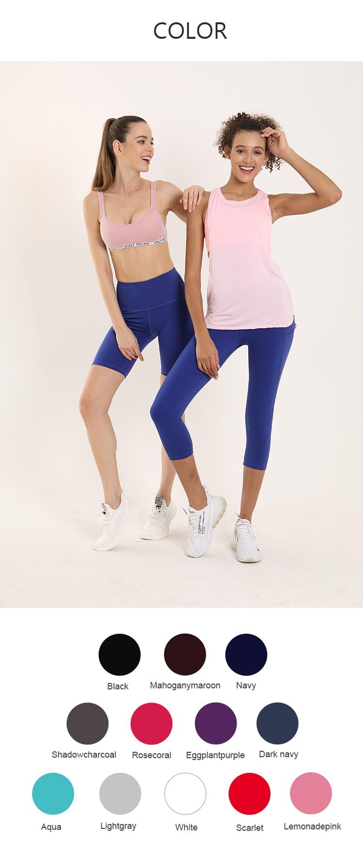 (19 POLLICI) Sexy Sporting Outdoor Legging Delle Donne di Yoga Capri Pantaloni con Tasche Laterali
