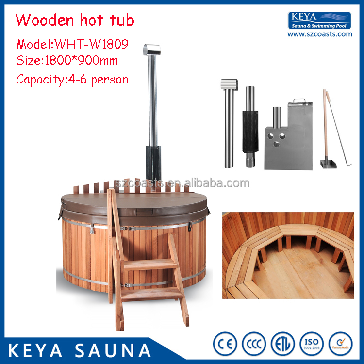 DIY wooden outdoor spas hot tubs cedar hot tub for 4-6 persons
