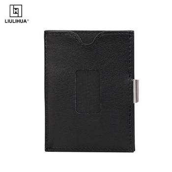 Hot sale purse genuine leather FRID minimalist wallet exentri similar style wallet money clip Slim Leather Wallet