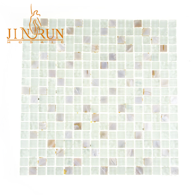 Kitchen back splash glass mixed pearl shell mosaic tile