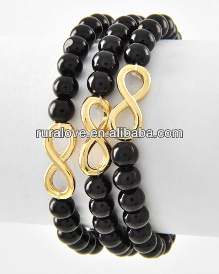 Simple 3 set gold shiny infinity with black acrylic beaded bracelet