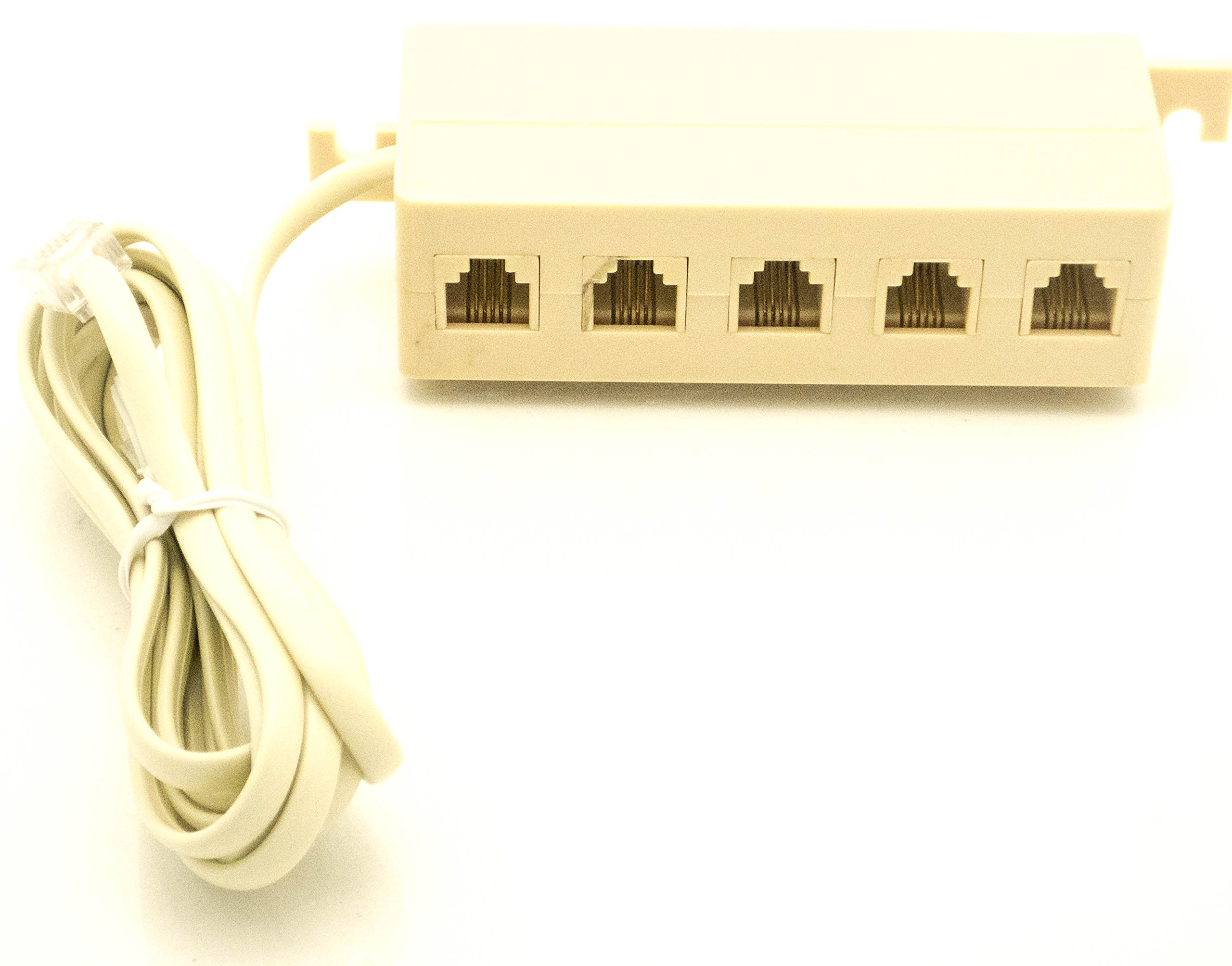 Get Quotations · 5-Outlet Modular Jack Adapter - Phone Jack Extension Line  Cord Modular Single Jack -