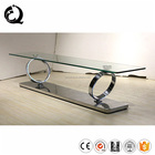 360 degree rotating stainless steel tv stand glass table for lcd tv