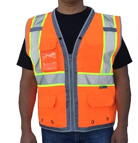 ANSI/ISEA Compliant Class 2 Men Surveyor <strong>Orange</strong> Safety <strong>Vest</strong>