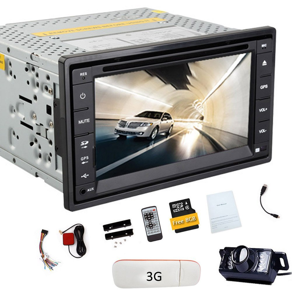 Receiver BT Audio System PC Auto radio Double Din Audio Car Video Head Unit In Dash PC CD DVD Player Car Stereo LCD Screen logo iPod win 8 Remote control 3G Stick Rearview Camera