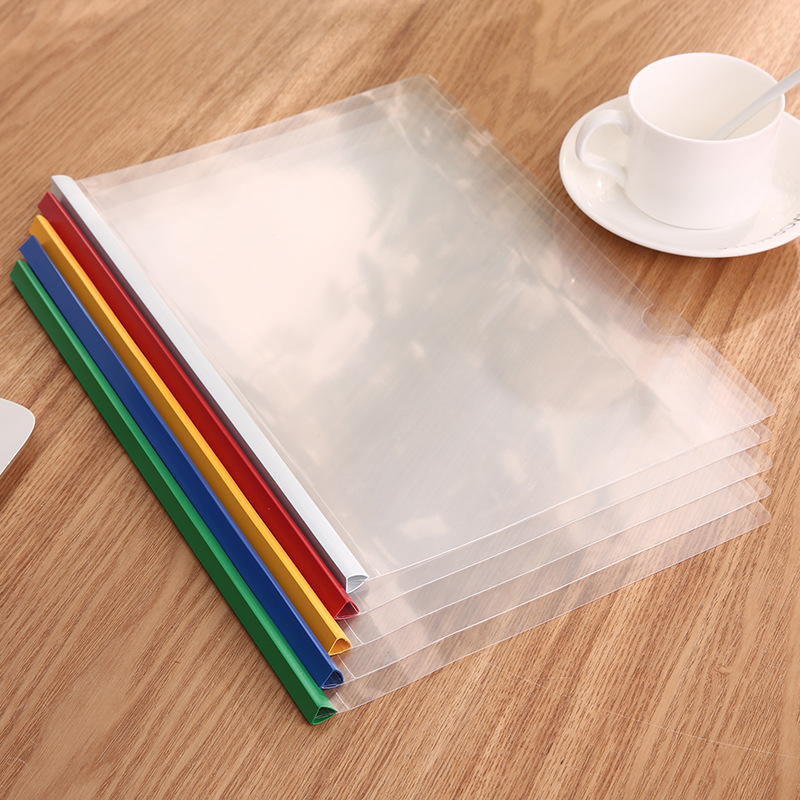 Transparent plastic slide bar report cover a4 size logo printed file folder