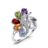 JewelryPalace Butterfly 2.4ct Genuine Gemstone Ring Amethyst Garnet Peridot Citrine Blue Topaz Cocktail Ring 925 Sterling silver