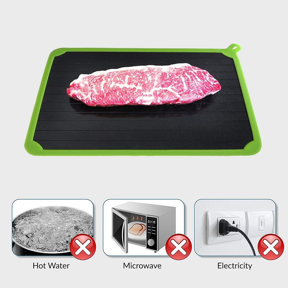 Y-Step Defrosting Tray with Green Silicone Border Thaws Frozen Food Faster The Quicker and Safest Way to Defrost Meat or Frozen Food Quickly