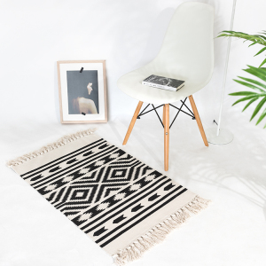 Home decor entrance ground protective door mat living room rug carpet cotton woven custom printed car floor mat with tassels