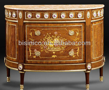 French Antique Luxury Style Marquetry Side Cabinet