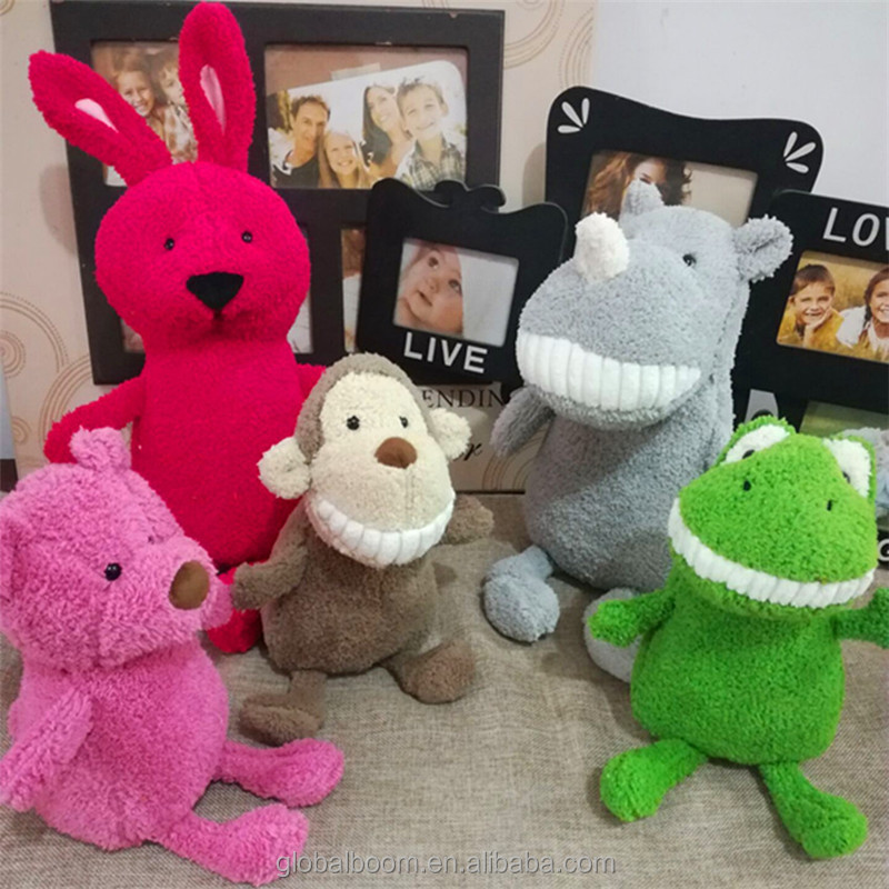 Hot Sale Lovely Laughing Plush Stuffed Custom Animal Toys Smiling Teeth Animal Stuffed Toys