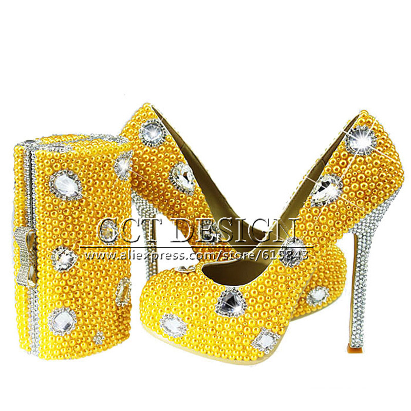 New Yellow Wedding Shoes With Pearls Handmade Sparkly Diamond High Heels Platfrom Party Evening Shoes Italian Shoes And Bag Set
