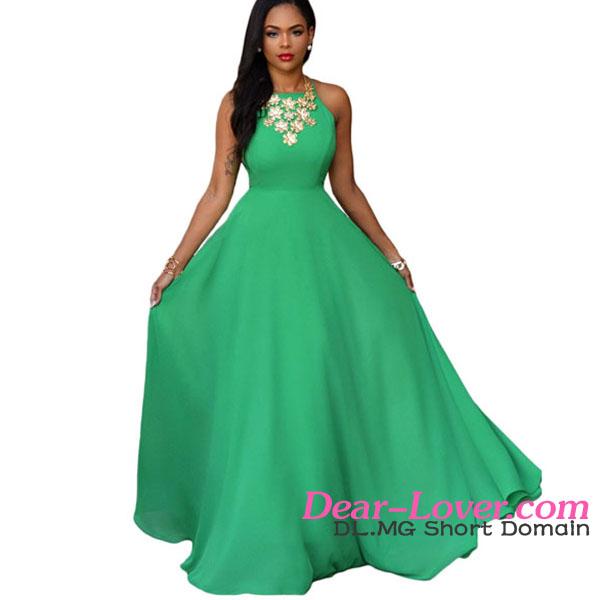 Vestidos de color verde jade