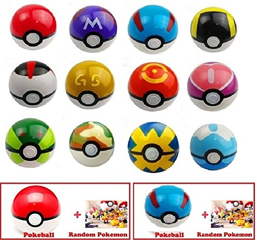 (2-Pack) Pokemon Go Pokeball & Great Pokeball Toys with Two Action Figures Inside - Real Toy Pokeballs that Open- Includes Four Pokemon Figurines & Two Pokeballs   EpicGifts