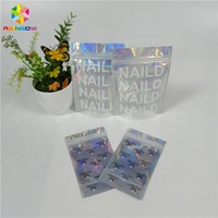 Custom logo wholesale cheap small sachet 10x10 zip three side sealed bag with clear front packaging nali polish/eyelash