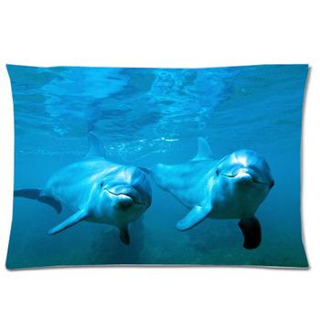 u30413 smart animaux dauphin nage saut la eau bleue taie d 39 oreiller couvre standard taille 20. Black Bedroom Furniture Sets. Home Design Ideas