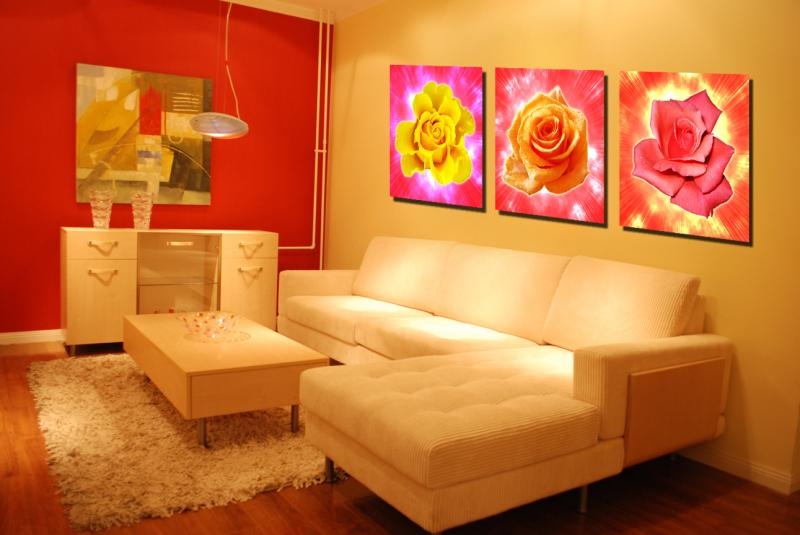 3 Pcs (No Frame) yellow and red rose Flowers Wall Art Picture Modern Home Decor or Bedroom Canvas Print Painting  SZ-O-122