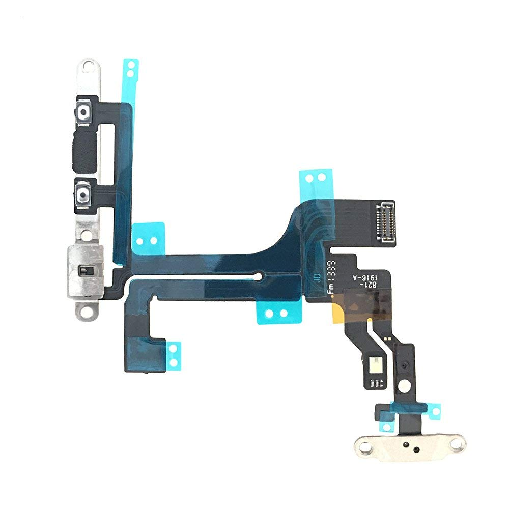 Johncase New OEM Original Switch Power Button On/Off and Volume Control and Mute Button and Flash Light and Mic Flex Cable with Bracket Replacement part for iphone 5C