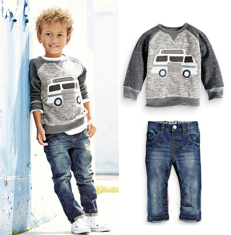 2015 Autumn Baby Boys Clothing Set Kids Boys Cowboy Suit Cotton T-shirt +Jeans 2pcs Suit Children Clothes Sets