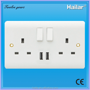 British Standard 13A 2 gang wall switched socket+(1A+2.1A) USB outlet, USB socket with total current 3.1AMP