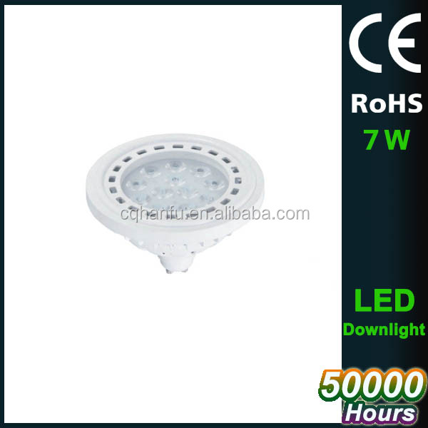 CE RoHS 7w plastic g53 led bulb light,AR111 G53 spot bulb 120degree,Factory price plastic spot light