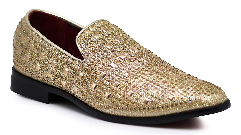 Enzo Romeo SPK11 Men's Vintage Fashion Rhinestone Designer Dress Loafers Slip On Shoes Classic Tuxedo Dress Shoes
