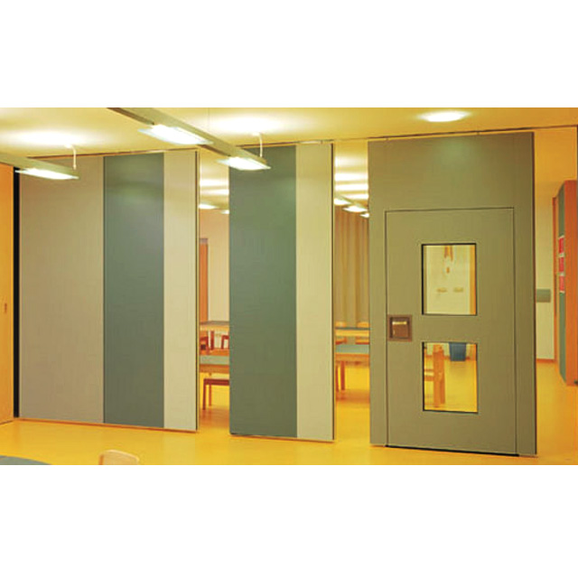 Banquet hall soundproof MDF interior sliding wooden door movable partition
