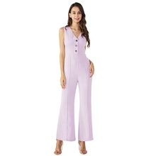 Paars Retro Uitlopende Jumpsuit-Solid Fashion Sexy Rompertjes Womens <span class=keywords><strong>Playsuit</strong></span>