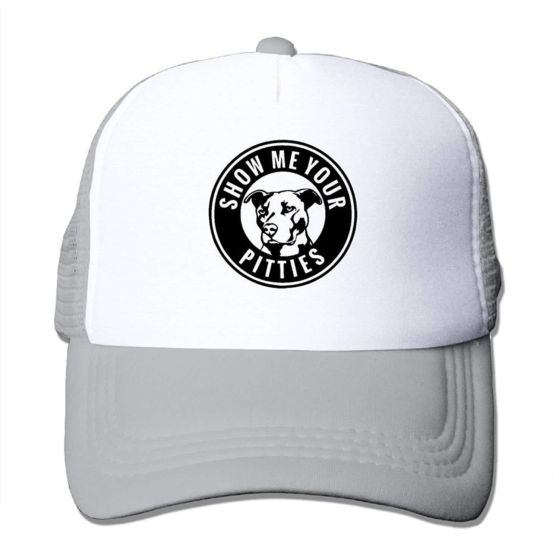 Crazy Popo Outdoor Sports Hat - Show Me Your Pitties Funny Pitbull Adjustable Trucker Hat Cap Adult Unisex Golf Trucker Hat