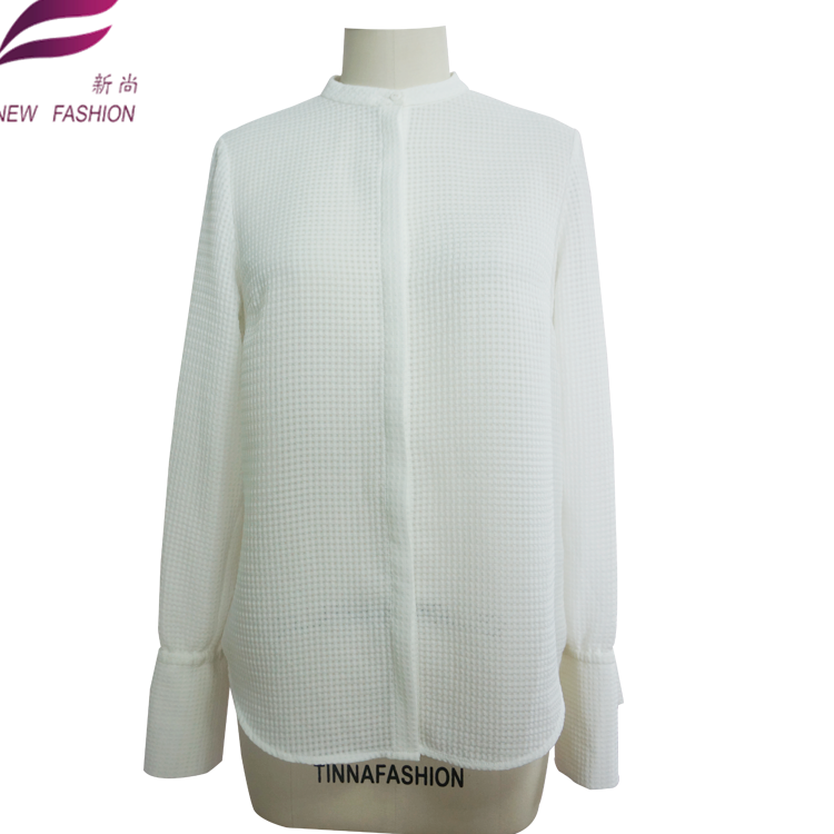 Dames Lange Mouw polyester check jacquard stof Blouse & Tops