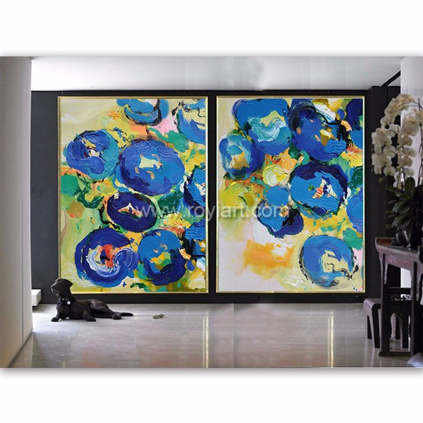 Set of 2 large contemporary painting abstract original canvas artwork blue yellow green red pink