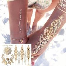 Ouro gargantilha tatuagem temporária corpo arte da luva do braço Flash do tatuagem adesivos, 21 * 15 cm à prova d ' água Tatto Henna falso Tatoo beleza Selfie