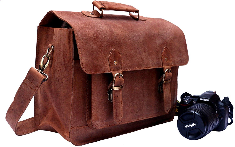 Get Quotations Featherfeel Uni Leather Camera Satchel Travel Case Bag Dslr Slr